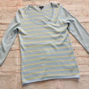 Talbots Sweater Silk Blend Striped U Neck Small